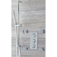 Milano Mirage - Modern 2 Outlet Triple Thermostatic Mixer Shower Valve with Hand Shower Handset Slide Rail Bar Kit and Four Body Jets - Chrome