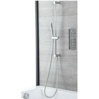 Mirage - Modern 2 Outlet Triple Thermostatic Mixer Shower Valve with Hand Shower Handset Slide Rail Bar Kit and Overflow Bath Filler Tap - Chrome