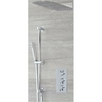 Mirage - Modern 2 Outlet Triple Thermostatic Mixer Shower Valve with Wall Mounted 200mm x 500mm Rainfall Shower Head and Hand Shower Handset Slide