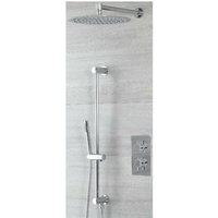 Milano Mirage - Modern 2 Outlet Twin Diverter Thermostatic Mixer Shower Valve with 300mm Wall Mounted Round Rainfall Shower Head and Hand Shower