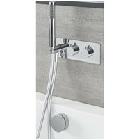 Mirage - Modern 2 Outlet Twin Diverter Thermostatic Mixer Shower Valve with Hand Shower Handset and Overflow Bath Filler Tap- Chrome - Milano