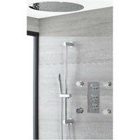Milano Mirage - Modern 3 Outlet Triple Diverter Thermostatic Mixer Shower Valve with 400mm Round Ceiling Mounted Recessed Rainfall Shower Head, Hand
