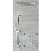 Milano Mirage - Modern 3 Outlet Triple Diverter Thermostatic Mixer Shower Valve with Wall Mounted 200mm x 500mm Fixed Thin Rainfall Shower Head, Hand