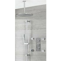 Milano Mirage - Modern 3 Outlet Triple Thermostatic Mixer Shower Valve with Ceiling Mounted 300mm Round Rainfall Shower Head, Hand Shower Handset