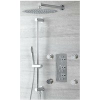Mirage - Modern 3 Outlet Triple Thermostatic Mixer Shower Valve with Wall Mounted 300mm Round Rainfall Shower Head, Hand Shower Handset Slide Rail