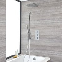Milano Mirage - Modern 3 Outlet Triple Thermostatic Mixer Shower Valve with Wall Mounted 300mm Round Rainfall Shower Head, Hand Shower Handset Slide