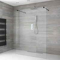 Milano Nero - 1000mm Floating Glass Walk In Wet Room Shower Enclosure with Screen, Support Arms and 1200mm Linear Shower Drain - Black