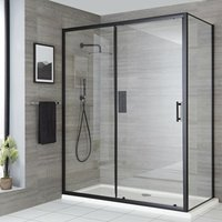 Nero - 1100mm Reversible Wet Room Shower Enclosure Sliding Door with 760mm Side Panel - Black - Milano