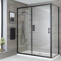 Nero - 1600mm Reversible Wet Room Shower Enclosure Sliding Door with 760mm Side Panel - Black - Milano