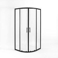 Nero - 760mm x 760mm Reversible Quadrant Shower Enclosure - Black - Milano