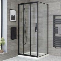 Nero - 900mm Reversible Wet Room Shower Enclosure Triple Sliding Door with 760mm Side Panel - Black - Milano