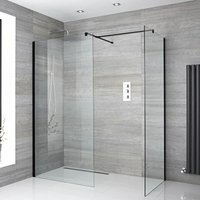 Nero - Corner Walk In Wet Room Shower Enclosure with 900mm and 700mm Screens, Support Arms and 250mm Tile Insert Corner Shower Drain - Black - Milano