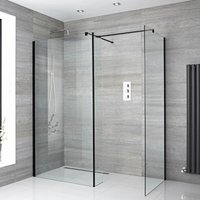 Nero - Corner Walk In Wet Room Shower Enclosure with Two 900mm Screens, Return Panel, Support Arms and 250mm Tile Insert Corner Shower Drain - Black