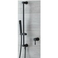 Nero - Modern 1 Outlet Manual Mixer Shower Valve with Hand Shower Handset Slide Riser Rail Kit - Black - Milano