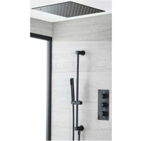Milano Nero - Modern 2 Outlet Triple Thermostatic Mixer Shower Valve with Hand Shower Handset Slide Riser Rail Kit and Ceiling Mounted Recessed