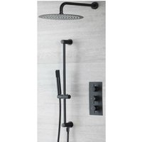 Milano Nero - Modern 2 Outlet Triple Thermostatic Mixer Shower Valve with Hand Shower Handset Slide Riser Rail Kit and Wall Mounted Round Rainfall