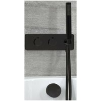 Nero - Modern 2 Outlet Twin Diverter Thermostatic Mixer Shower Valve with Hand Shower Handset and Overflow Bath Filler Tap- Black - Milano