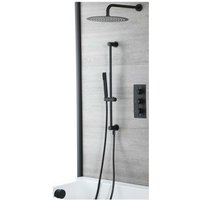 Milano Nero - Modern 3 Outlet Triple Diverter Thermostatic Mixer Shower Valve with Wall Mounted Rainfall Shower Head, Hand Shower Handset Slide Riser