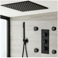 Milano Nero - Modern Black Concealed Triple Diverter Thermostatic Mixer Shower Valve with 400mm Square Ceiling Mounted Recessed Rainfall Shower Head,
