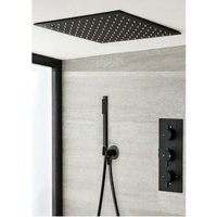 Milano Nero - Modern Black Concealed Triple Thermostatic Mixer Shower Valve with 400mm Square Ceiling Mounted Recessed Rainfall Shower Head and Hand