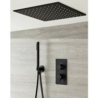 Nero - Modern Black Concealed Twin Diverter Thermostatic Mixer Shower Valve with 400mm Square Ceiling Mounted Recessed Rainfall Shower Head and Hand