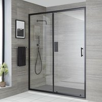 Milano Nero - Reversible Recessed Walk In Wet Room Shower Enclosure with Sliding Door and 1400mm x 800mm Light Grey Slate Effect Tray with Fast Flow