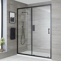 Milano Nero - Reversible Recessed Walk In Wet Room Shower Enclosure with Sliding Door and 1400mm x 800mm White Slate Effect Tray with Fast Flow Waste