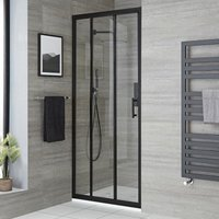 Milano Nero - Reversible Recessed Walk In Wet Room Shower Enclosure with Triple Sliding Door and 900mm x 1500mm White Slate Effect Tray with Fast