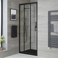 Milano Nero - Reversible Recessed Walk In Wet Room Shower Enclosure with Triple Sliding Door and 900mm x 1800mm Graphite Slate Effect Tray with Fast