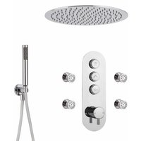 Milano Orta - Modern Three Outlet Push Button Thermostatic Shower Mixer Valve with 400mm Ceiling Mounted Round Rainfall Shower Head, Hand Shower