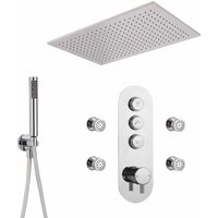 Milano Orta - Modern Three Outlet Push Button Thermostatic Shower Mixer Valve with 800mm x 500mm Ceiling Mounted Rainfall Shower Head, Hand Shower