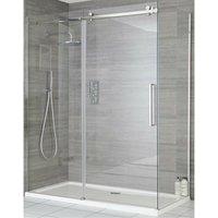Portland - 1000mm Reversible Wet Room Frameless Shower Enclosure Sliding Door with 900mm Side Panel - Chrome - Milano