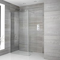 Portland - 1400mm Recessed Walk In Wet Room Shower Enclosure with Screen, Return Panel, Profile, Support Arm and 1200mm Tile Insert Shower Drain