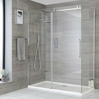 Portland - 1500mm Reversible Wet Room Frameless Shower Enclosure Sliding Door with 800mm Side Panel - Chrome - Milano