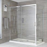 Portland - 1600mm Reversible Wet Room Shower Enclosure Sliding Door with 800mm Side Panel - Chrome - Milano