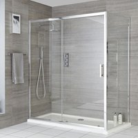 Portland - 1600mm Reversible Wet Room Shower Enclosure Sliding Door with 760mm Side Panel - Chrome - Milano
