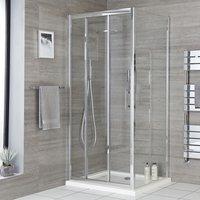 Milano Portland - 800mm Reversible Wet Room Shower Enclosure Triple Sliding Door with 800mm Side Panel - Chrome