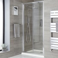 Portland - 900mm Bifold Reversible Folding Shower Enclosure Door - Chrome - Milano