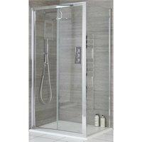 Portland - 900mm Reversible Wet Room Shower Enclosure Bifold Door with 760mm Side Panel - Chrome - Milano