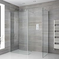 Portland - Corner Walk In Wet Room Shower Enclosure with Two 900mm Screens, Return Panel, Support Arms and 250mm Tile Insert Corner Shower Drain