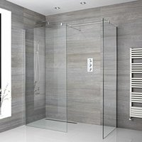 Portland - Corner Walk In Wet Room Shower Enclosure with Two 900mm Screens, Support Arms and 200mm Square Tile Insert Shower Drain - Chrome - Milano