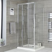 Milano Portland - Reversible Corner Wet Room Walk In Shower Enclosure with Triple Sliding Door and 900mm x 900mm White Tray with Fast Flow Waste