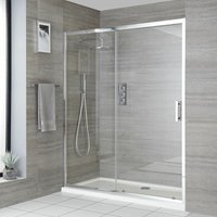 Milano Portland - Reversible Recessed Walk In Wet Room Shower Enclosure with Sliding Door and 1700mm x 750mm White Tray with Fast Flow Waste - Chrome
