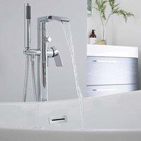 Milano Razor - Modern Freestanding Bath Shower Mixer Tap with Hand Shower Handset - Chrome