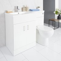 Milano Ren - White Modern Bathroom Left Hand Combination Toilet WC and Basin Unit - 1105mm x 770mm