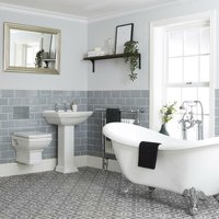 Sandringham - White Traditional Double Ended Freestanding Roll Top Bath, Ceramic Wall Hung Toilet WC and Full Pedestal Bathroom Basin Sink with One