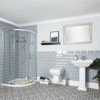 Milano Sandringham - White Traditional Quadrant Shower Enclosure, Ceramic Wall Hung Toilet WC and Full Pedestal Bathroom Basin Sink with One Tap Hole