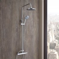 Select - Modern Round Thermostatic Bar Mixer Shower Valve with Telescopic Riser Rail, Round Fixed Shower Head and Hand Shower Handset - Chrome