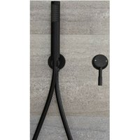 Milano Nero - Modern Black Manual Mixer Shower Valve with Hand Shower Handset Kit