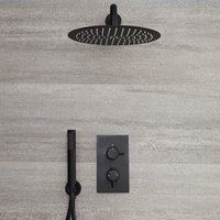 Milano Nero - Modern 2 Outlet Twin Diverter Thermostatic Mixer Shower Valve with Wall Mounted 300mm Round Rainfall Shower Head and Hand Shower